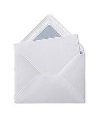 Paper envelope with blank note on white