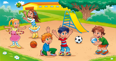 Kids in the playground. Funny cartoon and vector scene.