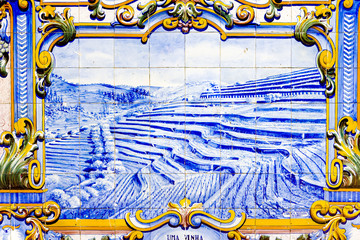 tiles at railway station of Pinhao, Douro Valley, Portugal