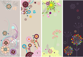 set of colorful floral vector banners