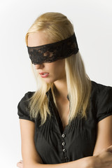 the blond with lace on eyes