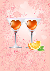 Two glasses with heart