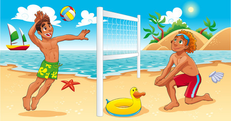 Beach Volley scene. Cartoon and vector sport illustration.