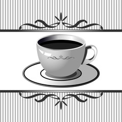 Ornamented square background with coffee cup theme