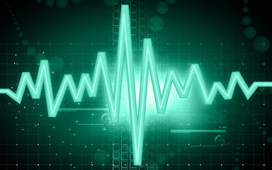 Illustration of a green pulse in black background