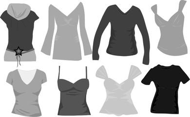 wardrobe women icons vector