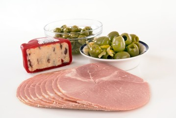 Ham olives and cheese