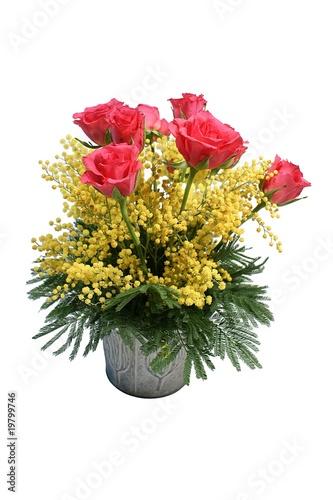 Art Floral Bouquet De Roses Et Mimosa Stock Photo And Royalty