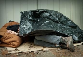 Homeless Man Asleep on the Streets