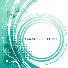 Turquoise floral background with copy spase