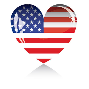 Heart with US flag texture isolated on a white background