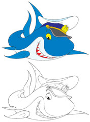 Shark Captain (black-and-white and color illustrations)
