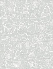 grey wooden  background with hand draw  hearts