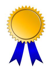 golden Medal blue ribbon