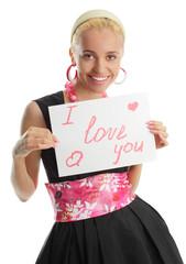 Woman congratulates with valentin's day