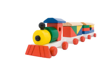wooden train isolated on a white background
