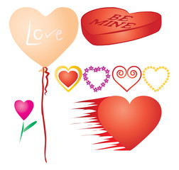Set of valentines hearts, part 3, vector additional
