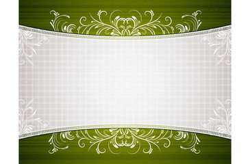 green background with decorative ornaments, vector illustration