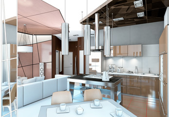 outline kitchen with brown