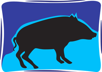 Silhouette of a pig