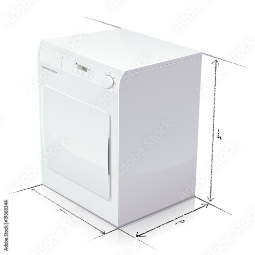 Dimension d 39 un s che linge reflet fichier vectoriel - Dimension machine a laver frontale ...