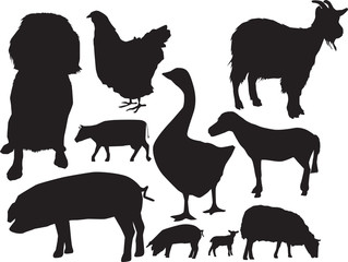 farm animals sihouette set