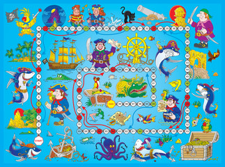 "Foto op Plexiglas Op straat Board game ""Pirates"""