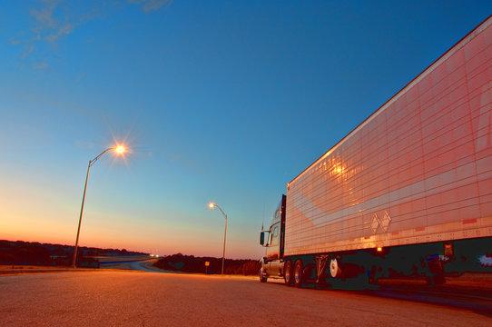 Semi Truck At Night