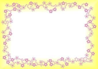 rosa gelber Blumenrahmen