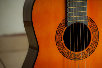 Classic guitar close up