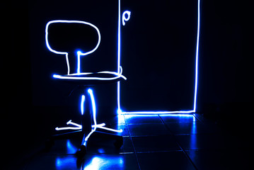 Office chair and door light painted.