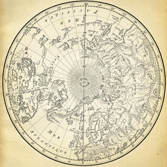 Ancient map (1746) of the northern hemisphere