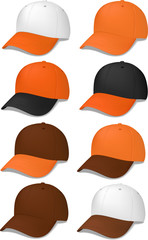 Baseball caps in brown and/or orange - vector illustrations