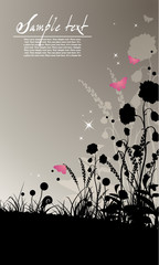 elegant background with silhouettes of flowers and grass.