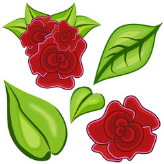 Cartoon Rose Leaf Icon Set