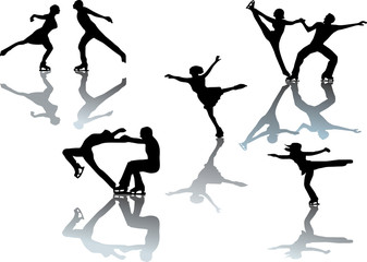 figure skater silhouettes on white