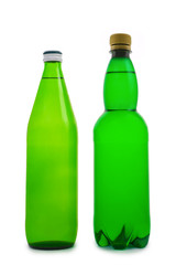 two isolated green bottle
