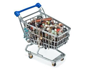 Shopping cart full of costume jewellery