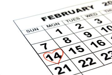 Valentine's Day calendar date on paper