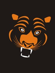 stylized orange tiger on a black background
