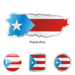 vector flag of puerto rico in map and web buttons shapes