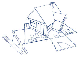 House with Floorplan outline
