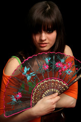 Girl with a spanish fan