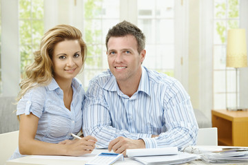 Couple planning at home