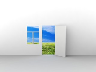 Exit to natural landscape with door and window.