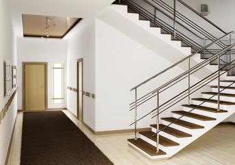 Flur mit treppe 3d