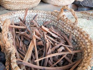 cinnamon bark in basket
