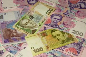 Background made of Ukrainian money called hryvnias