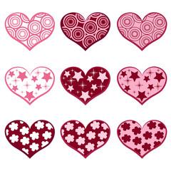 9 hearts. Set valentine`s simbols.