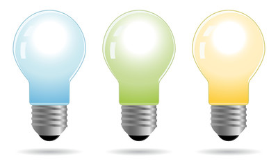 set of color bulbs in vector mode